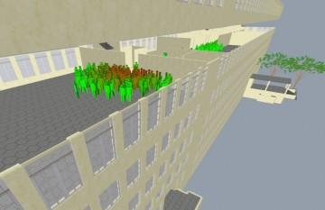 Optimální evakuace? Kromě pomoci při optimalizaci konstrukčního návrhu budovy před zahájením stavby lze software pro kontrolu davu využít v reálném čase přímo při samotné evakuaci budovy.