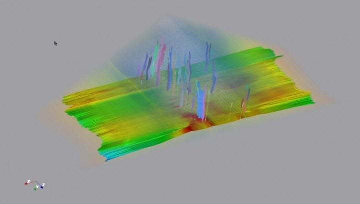 Ultrazvukový snímek z podmořského průzkumu výskytu uhlovodíků.
